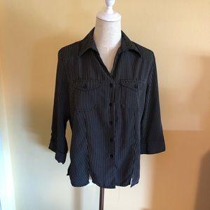 Women's Blouse, Black with white pin stripes
